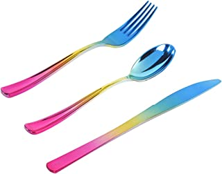 120 pcs Gold Plastic Silverware, Rainbow Party Plastic Flatware, Gold and Blue Color, Enjoylife(Rainbow)