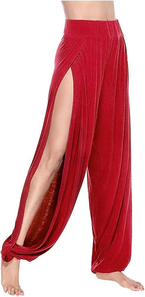 ARJOSA Women's Side Slit Harem Same day shipping Yoga Long Beach Mall Lounge Split Leg Pants Wide