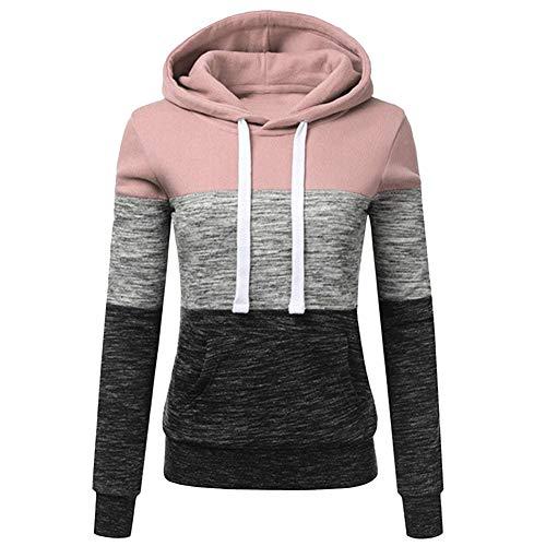 Bestwo - Sudadera con capucha de manga larga para mujer, con cordón y bolsillo Kanga Rosa rosa 40/42 ES tamaño de la etiqueta X-Large