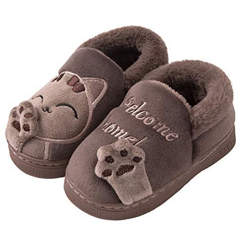 Mishansha Pantoffeln Kinder Indoor Baumwolle Hausschuhe Jungen Winter Slippers Braun 20/21EU (Herstellergröße 14/15CM)
