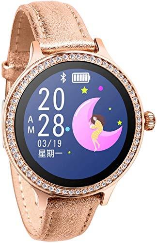 TYX-SS Reloj Inteligente para Mujer, Pulsera de Fitness, rastreador de Actividad, Monitor de Ritmo cardíaco, presión Arterial, Reloj Inteligente Deportivo para Mujeres, fácil de Usar-Oro de Cuero