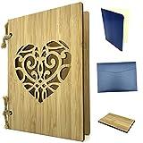 Tarjeta de felicitación de madera como tarjeta de invitación y tarjeta de Navidad, tarjeta de bambú con corazón, formato A6, juego con papel, sobre y pieza de muestra