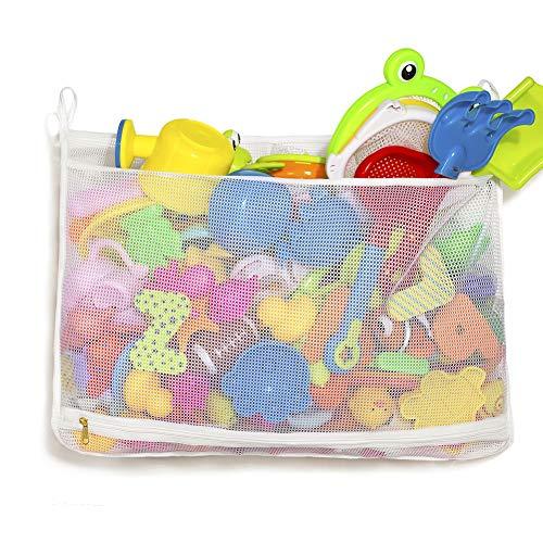 "Tenrai Mesh Bath Toy Organizer, Bathtub Storage Bag, Multi-Purpose Baby Toys Net, Toddler Shower Caddy for Bathroom, Quick Drying Kids Toy Holder (14"" x 20"" , White)"