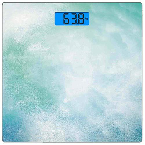 Bilancia digitale di precisione piazza Turchese Misurazioni accurate del peso della bilancia pesapersone in vetro ultra sottile,Arte astratta di immagine del cielo nuvoloso nella stampa di progettazio