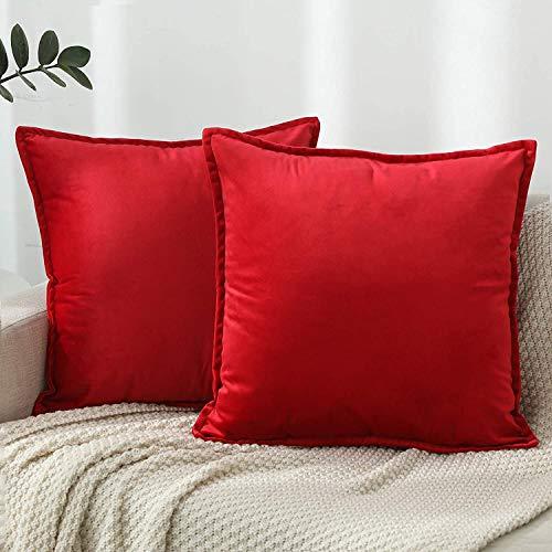 ZPXTI Samt Kissenbezug,2er Set Kissenbezug 40x40cm in Reiner Farbe, Kissenbezug Rot Kissenhülle dekorative Kissenbezüge (Rot, 40x40cm)