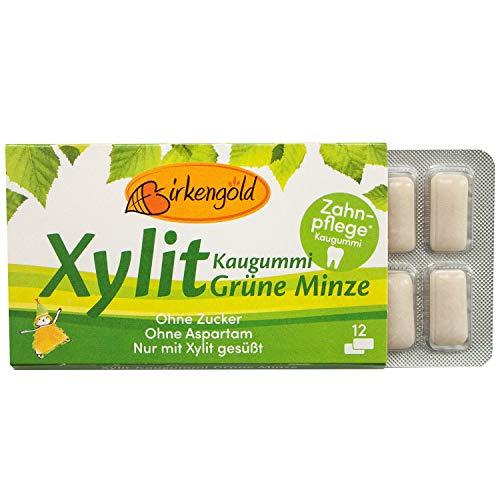 Birkengold Xylit Kaugummi Grüne Minze | Zahnpflege-Kaugummi | zuckerfrei | 70 % Xylit | vegan | ohne Titandioxid