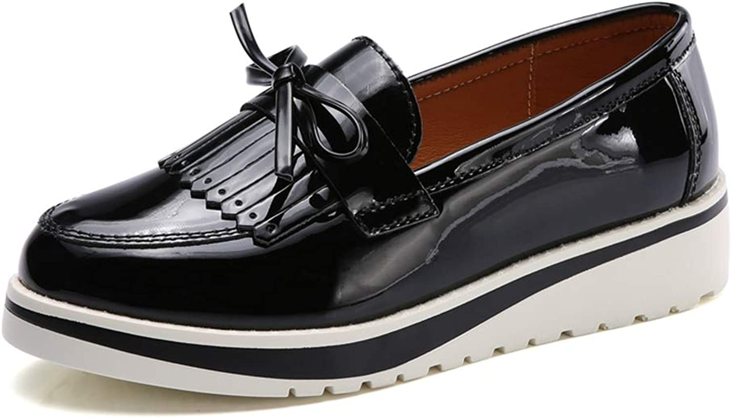 T-JULY Women Flat Casual shoes Loafers Patent Leather Slip on Fringe Platform shoes with Butterfly-Knot