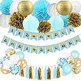 SZHUIHER Decoraciones de baby shower para niño – Decoración de baby shower azul y dorado con farol de papel pompones flores bola de nido de abeja globos borla