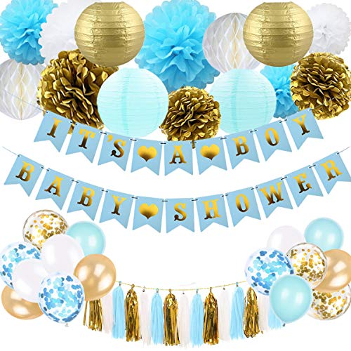 SZHUIHER Baby Shower Dekorationen für Jungen - Blau und Gold Baby Shower Dekoration Es ist EIN Boy & Baby Shower Banner mit Papierlaterne Pompoms Blumen Honeycomb Ballons Quaste