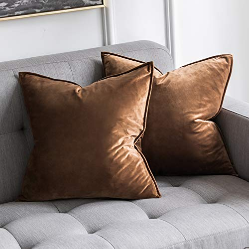 MIULEE Pack of 2 Velvet Soft Decorative Square Throw Pillow Case Flanges Cushion Covers Pillowcases for Livingroom Sofa Bedroom with Invisible Zipper 45cm x 45cm 18x18 Inch Set of Two Chocolat