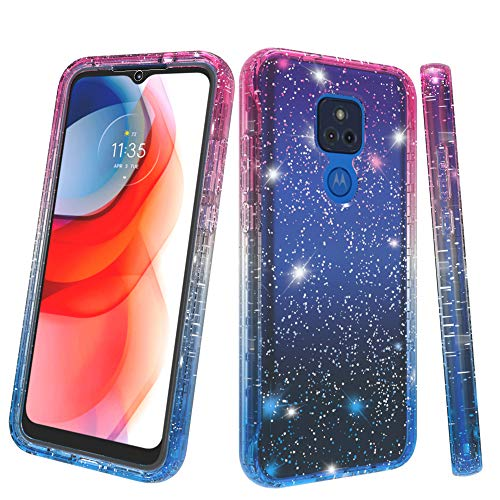 for Moto G Play 2021 Glitter Full Body Case with Built in Screen, Motorola G Play Case,[NOT for Moto G9 Play], Slim Shockproof Hybrid Cover Protective Phone Cases for Motorola G Play 2021 (Pink Blue)