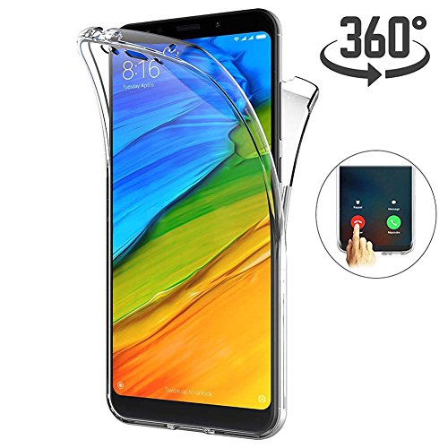 Preisvergleich Produktbild Ptny Ultra dünn Case Geeignet für Xiaomi Redmi 5 Plus,  [Touch 3.0 Verbesserte Version] [360 Grad Ganzkörper Schutz] [Vorne und Hinten Schutzhülle] Silikon Crystal TPU Full Body Cover
