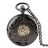 Mano de obra elegante y simple, exquisita, buenos Reloj de bolsillo Black Hollow Gear Rueda Diseño Mano Viento Mecánico Relojes de bolsillo con 30cm Cadena Vintage Skeleton Dial Hombres Relojes Reloj