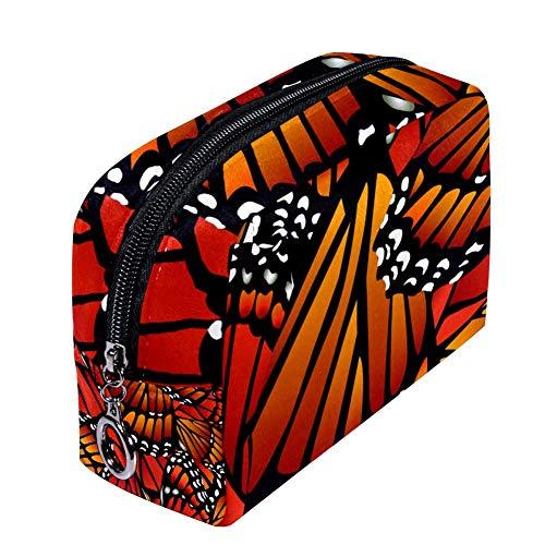 ANINILY - Trousse à maquillage blanche avec motif de papillon monarque et ailes pour femme - Petite trousse de maquillage de voyage pour produits de toilette - Étanche et multifonction