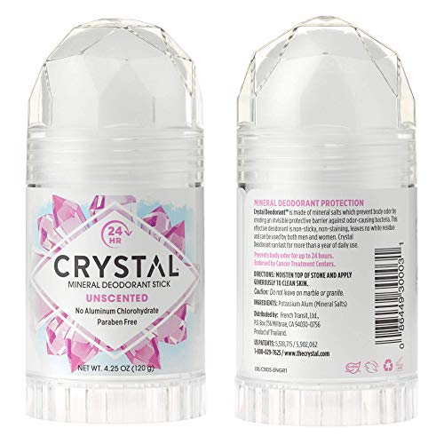 Crystal Aluminium Free Mineral Deodorant Stick - 4.25 fl oz, Pack of 2 - Clear Unscented