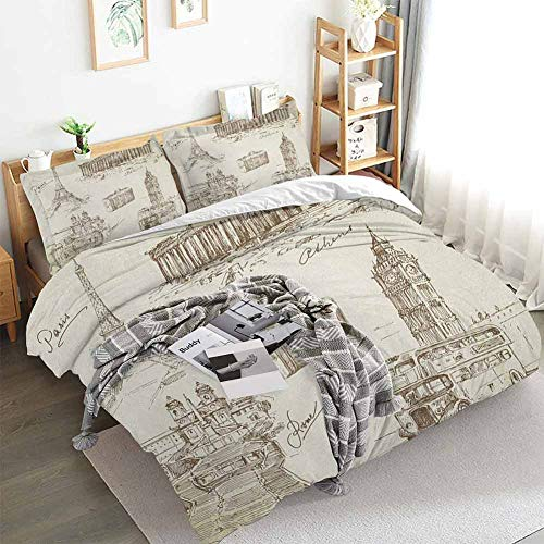 Travel Duvet Cover Set,Sketch Art Collection of Travel Over European Landmarks and Vintage Style Suitcase,Decorative 3 Piece Bedding Set with 2 Pillow Shams,Twin(68'x90') Brown Cream