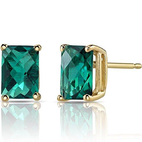 Peora Created Emerald Earrings for Women in 14 Karat Yellow Gold,...