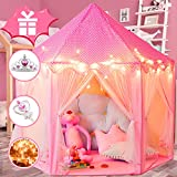 WOOD CITY Princess Castle Play Tents for Girls, Kids Playhouse Indoor & Outdoor with 16.5 Feet Star Lights, Bonus Princess Tiara and Wand, Large Size 55' x 53' Toy, 2+ Years Old Girl Gifts