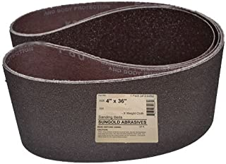 """Sungold Abrasives 35085 Silicon Carbide Cloth 180 Grit Sanding Belts (3-Pack), 4"""" x 36"""""""