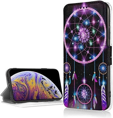 Bernice Winifred Dream Catcher Purple Case para iPhone XR Luxury PU Leather Wallet Case Flip Folio Cover con Ranuras para Tarjetas Correa de muñeca