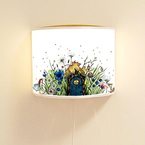ilka parey wandtattoo-welt® Leseschlummerlampe Elfenwiese Leselampe Schlummerlampe Wandlampe Lampe mit Elfe Fee und Punkten rosa & grün ls71