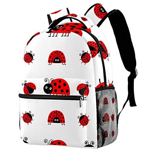 Mochila para niñas y niños, bolsa de escuela, bolsa de libros, para mujer, casual, con correas de hombro ajustables, arco iris, White Red Ladybug 5 (Multicolor) - w04