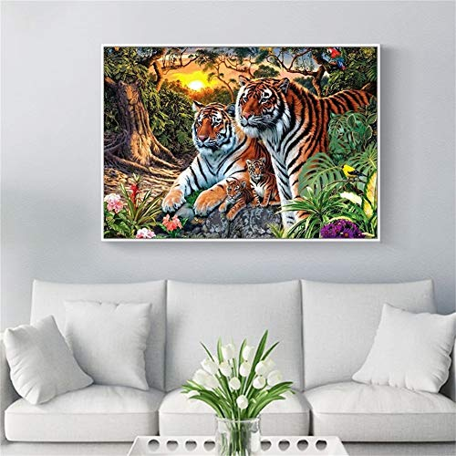 DIY 5D diamante pintura kit completo, Pájaro del bosque de tigre Diamond Painting adult/niño dot cristal Rhinestone punto de cruz bordado art decor de la pared del hogar Square Drill,30x50cm(12x20in)