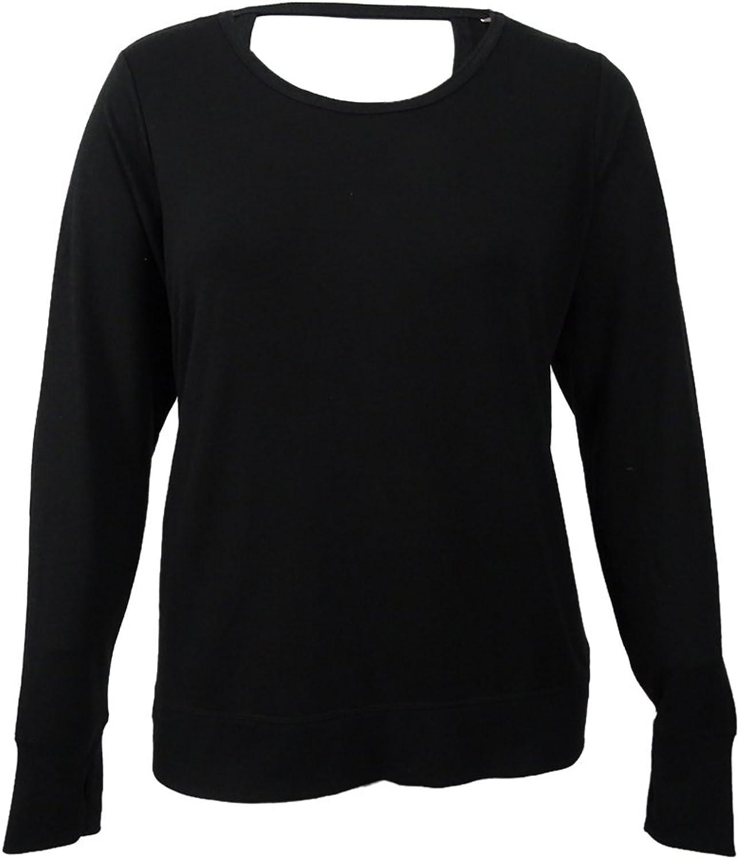 IDEOLOGY  45 Womens New 1382 Black Long Sleeve Jewel Neck Casual Top 2X Plus B+B