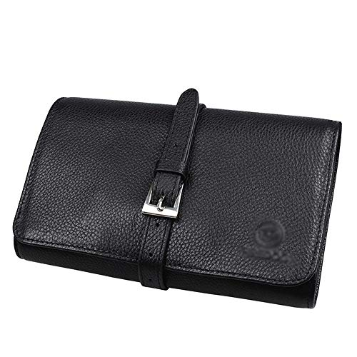 LC_Kwn Tobacco Pouch Leather Rolling Travel Smoking Pipe Pouch Bag Holder Black,4 Bucket All-Inclusive Anti-Smoking Bag