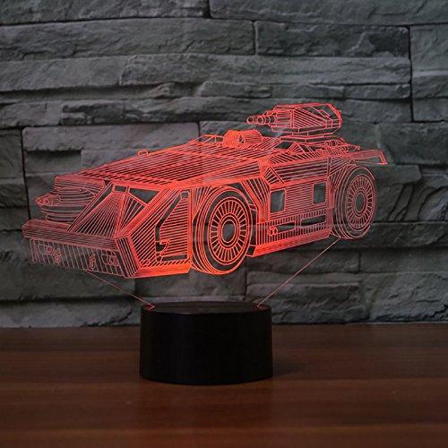Cool 3D Machine Tank LED Lámpara de mesa de escritorio con luz nocturna con 7 colores que cambian la lámpara de atmósfera Decoración del hogar Lustre Regalo de Navidad para niños