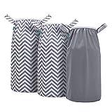 Teamoy Pail Liner for Cloth Diaper(Pack of 3), Reusable Diaper Pail Wet Bag with Elastic Edge, Fits for Dekor, Ubbi Diaper Pails, Gray +Gray Chevron+ Gray Chevron