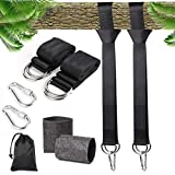 N/X Tree Swing Hanging Straps Kit Holds 2000 lbs, (5 FT) Adjustable Hammock Swing Hanger, 2 Tree Straps and 2 Safety Lock Carabiner Hooks Carry Pouch Bag Great for Tree Swings and Hammocks