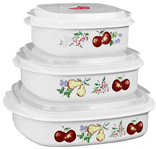 Reston Lloyd 6-Piece Microwave Cookware, Steamer, Storage Set Corelle Coordinates, 3, White