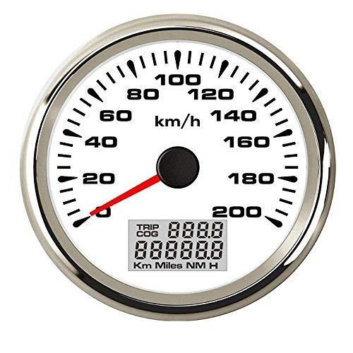 no-branded Kraftstoffanzeige Tachometer 85mm wasserdichte Digital GPS Tachomessgerät 120 km/h 200 km/h-Entfernungsmesser for Auto-Marine-LKW CGFEUR (Color : White Silver 200kmh, Size : Kostenlos)