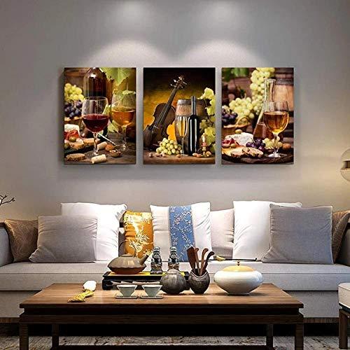 ADKMC 3 Piezas de Lienzo Arte Mural Copa de Vino de UVA Pinturas de Lienzo de Año Nuevo Pinturas de Lienzo de Arte de Pared para la Sala de Estar Decoración de Navidad en casa