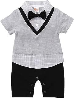 ALLAIBB Toddler Baby Boys Gentleman Plaid Bow Tie Romper Summer Shirt Jumpsuit (Color : Gray, Size : 80)