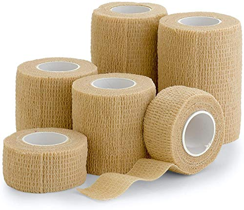 "6 Pack, Self Adherent Cohesive Tape - 1"" 2' 3' x 5 Yards Combo Pack, (Light Tan Shade) Self Adhesive Bandage Rolls & Sports Athletic Wrap for Ankle, Wrist, Sprains"