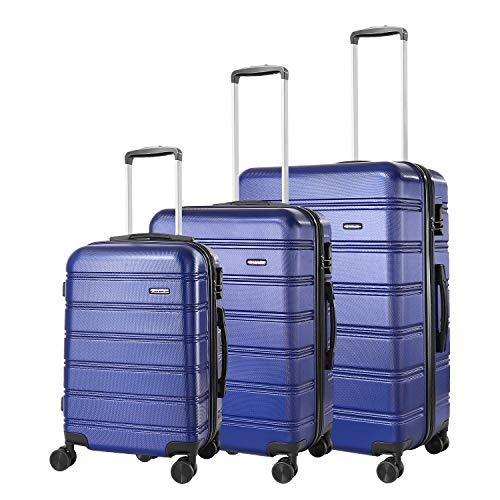 REYLEO Reisekoffer mit 4 geräuscharmen Rädern und Vorhängeschloss Blau blau