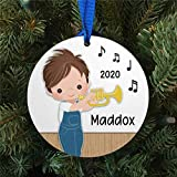 DONL9BAUER Personalized Boy Playing The Trumpet 2020 Christmas Ornaments Hanging Ornament Xmas Tree Decorations Present for Family Friends A Year to Remember