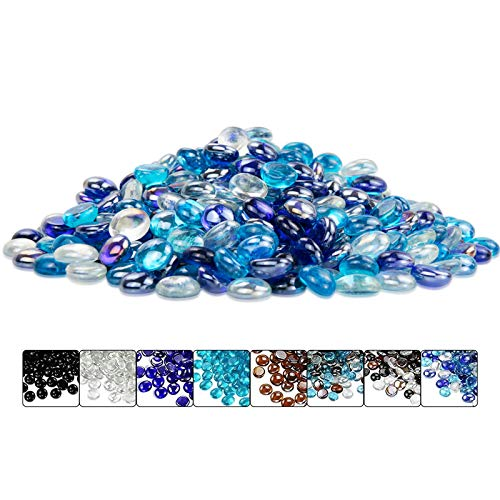 Hisencn Blended Fire Glass Rocks for Fir Pit, 1/2 Inch Cobalt Blue, Caribbean Blue, Platinum Crystal Reflective Fire Glass Beads for Natural or Propane Gas Fireplace, Indoor & Outdoor, 10 Pounds