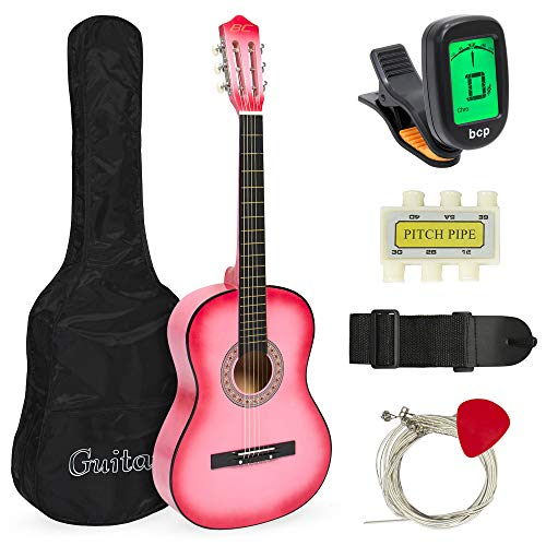 Best Choice Products 38in Beginner Acoustic Guitar Starter Kit w/Case, Strap, Digital E-Tuner, Pick, Pitch Pipe, Strings (Pink)