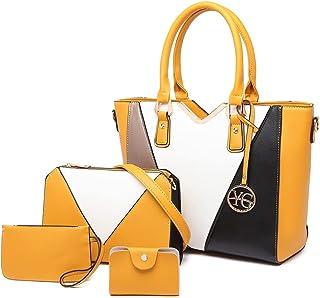 Handtasche Damen Shopper Schwarz Groß Lederhandtasche Schultertasche Umhängetasche Damen Mehrere Farbkombinationen Geldbör...