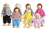 Wagoog Muñecas de Madera para casa de muñecas, Accesorios para Muebles de casa de muñecas Familiares Felices, Juego de muñecas para niños, Juguetes para niños