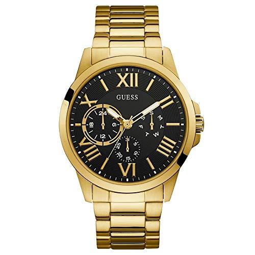 Guess Herren Analog Quarz Uhr mit Edelstahl Armband W1184G2
