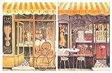 Cuadro Decorativo trattoria/panadería. Placas de Madera. Set de 2 Cuadros de 19 cm x 25 cm x 4 mm unid. Adhesivo FÁCIL COLGADO. Adorno Decorativo. Decoración Pared hogar/Cocina/Restaurante/cafetería