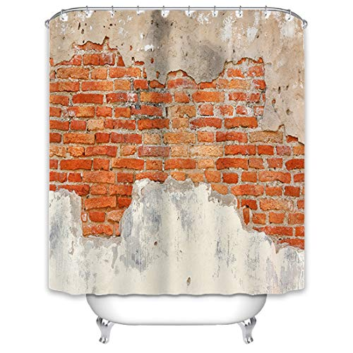 X-Labor Wand Motiv Duschvorhang 240x200cm Wasserabweisend Stoff Anti-Schimmel inkl. 12 Duschvorhangringe Waschbar Badewannevorhang 240x200cm Muster-B