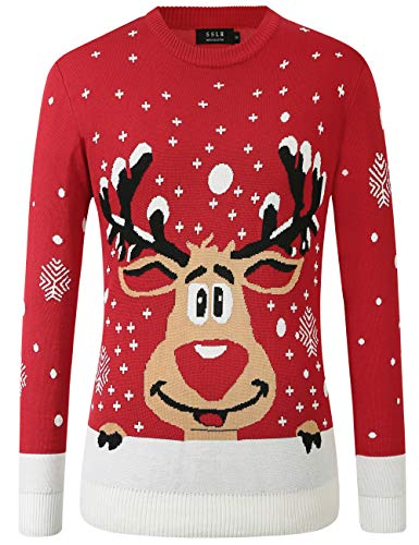 SSLR Mens Ugly Christmas Sweater Holiday Crew Neck Pullover Sweater for Men (Small, Red (935-1))