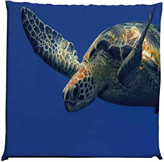 YOLIYANA Turtle Durable Square Chair Pad,Close Up Photo of Green Turtle at Sipadan Borneo Malaysia Cute Animal Under The Sea for Bedroom Living Room,One Size