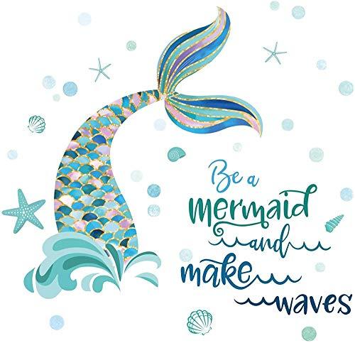 FFVVE Pegatinas de pared de cola de sirena con citas de ser una sirena y hacer las olas, pegatinas de pared para bebés y niñas, cuarto de baño, decoración de pared