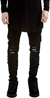 Pishon Men's Distressed Jeans Casual Solid Straight Leg Stretch Skinny Ripped Jeans